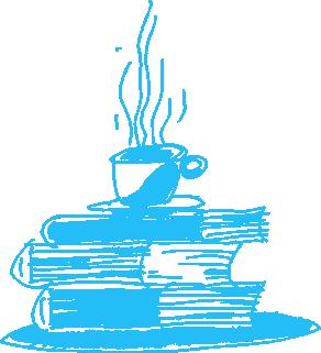káva na knihách ilustrácia